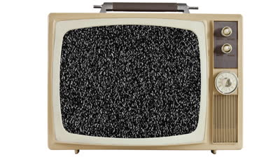 stock-footage-vintage-television-on-white-with-zoom-into-static-screen